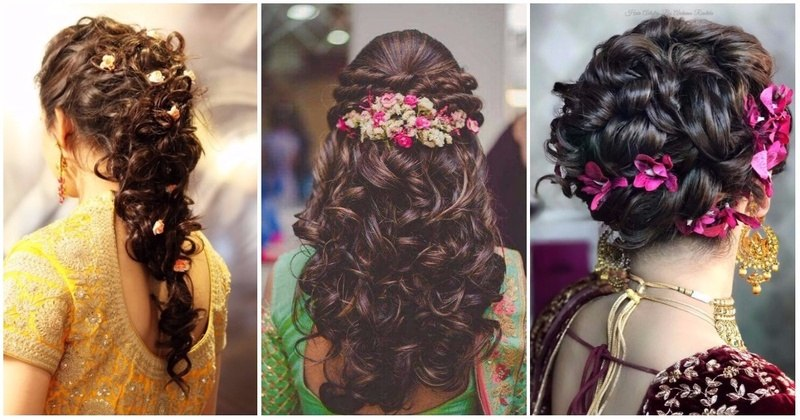 bridal hairstyles for curly hair indian wedding