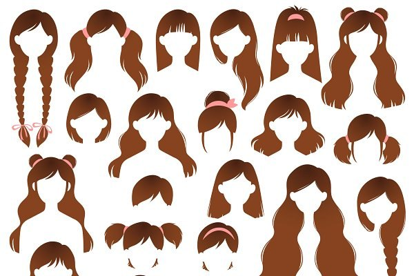 Set of Different Womens Hairstyles