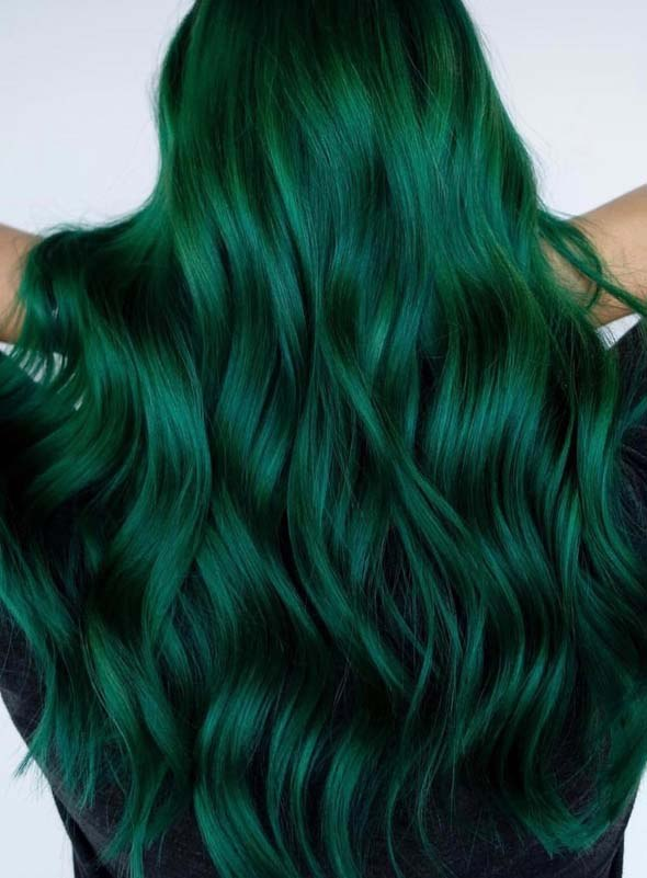 green hair colors long hairstyles