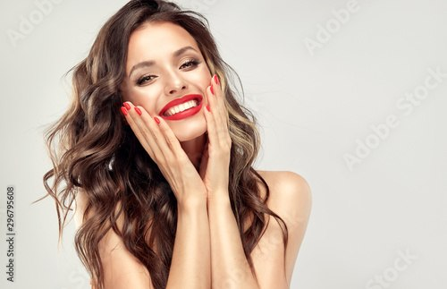 Long Hairstyle Model Best Of Beautiful Laughing Brunette Model Girl With Long Curly Hair … Of The Best Long Hairstyle Model