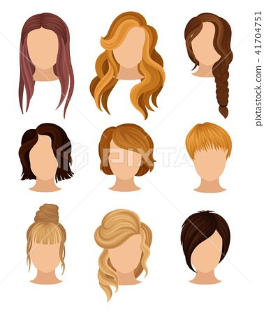Short Hairstyle Vector Best Collection Flat Vector Set Of Women S Heads With Various… Stock … Of New Short Hairstyle Vector