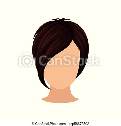 women s head with short hairstyle long ml