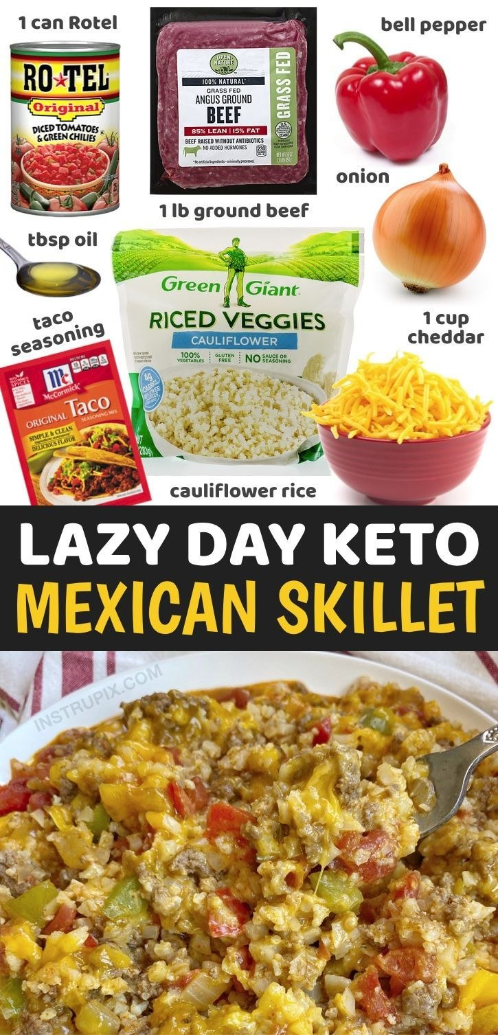 Cheesy Mexican Ground Beef & Cauliflower Rice Easy Low Carb Dinner