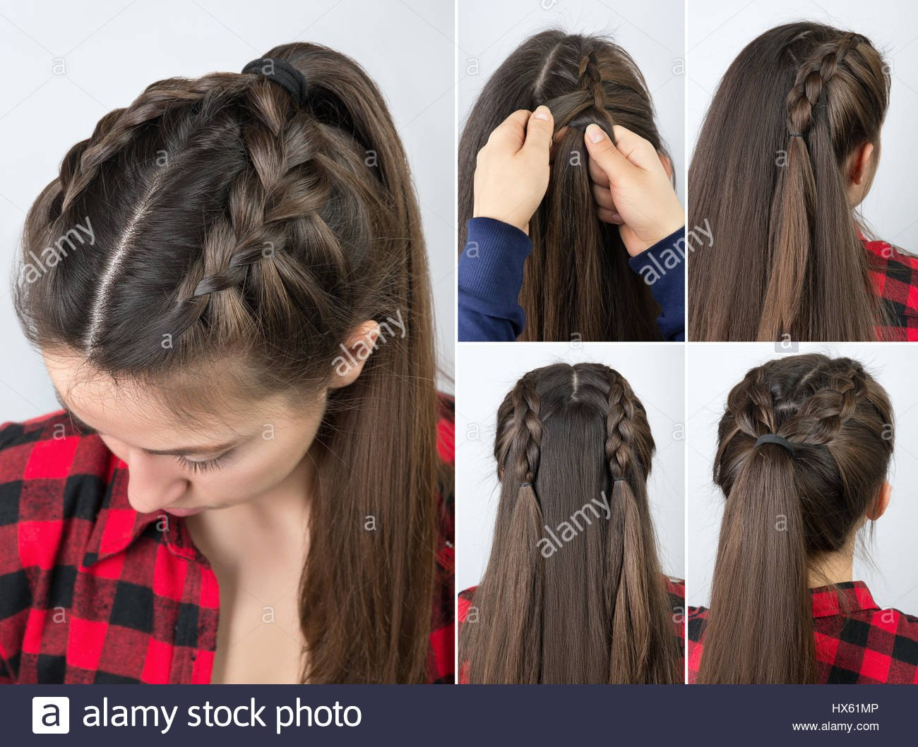 stock photo simple braided hairstyle tutorial step by step easy hairstyle for ml