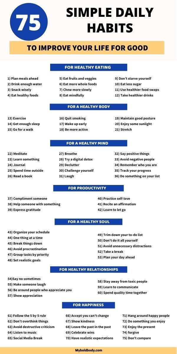 75 Simple Daily Habits To Improve Your Life For Good